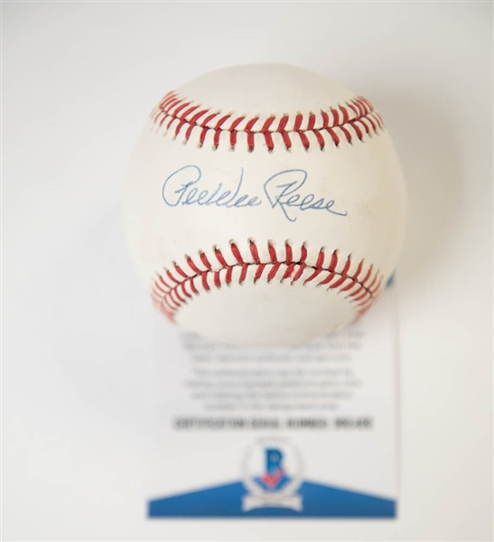 Pee Wee Reese Signed National League Baseball - BAS