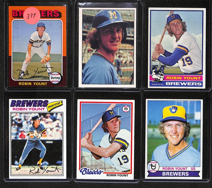 Lot Of 6 Robin Yount Cards 1975-1979 w. Rookie