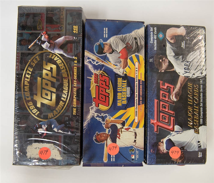 Lot of 3 Topps Baseball Factory Sets - 1996/1999/2000