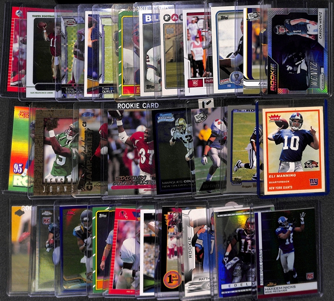 Lot of Over 450 Football Rookie Cards (Mahomes, Wentz, A. Rodgers, Bo Jackson, Favre, Gurley, ...) in Full 2-Row Box
