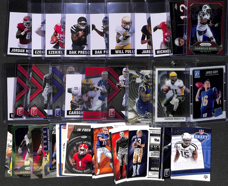 Lot of Over 700 Football Rookie & Star Cards in Full 2-Row Box (Rookies inc. Goff, Gurley, Wentz; Stars Iinc. Brady, Elway)