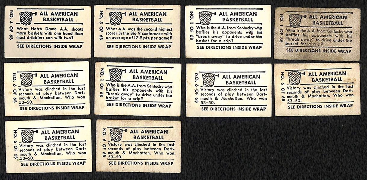 Lot Detail - Lot of (10) 1948 Topps Magic Basketball Cards