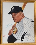 "Large Mickey Mantle Signed Original Oil Painting (Approx. 28""x34"" Framed) - JSA LOA"