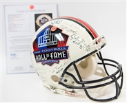 Full Size HOF Football Helmet Signed by 28 Hall of Famers (inc. Jim Brown, Lawrence Taylor, Dorsett, Sayers, and 24 more!) w. JSA LOA