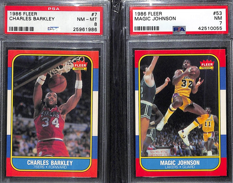 Pack Fresh 1986-97 Fleer Basketball Set (Missing Michael Jordan Rookie Card) - 131 of 132 cards (inc. 11 Graded Cards - Most PSA 8 & 9)