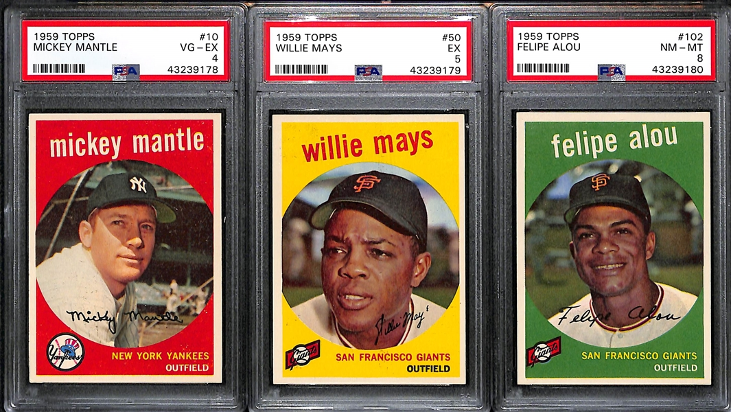 1959 High-Grade Baseball Card Near Complete Set - Missing 5 Cards - w. Mantle PSA 4