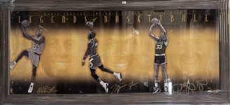 Michael Jordan/Larry Bird/Magic Johnson Signed & Framed Print #396/500- Upper Deck Authenticated - Some Damage to Print