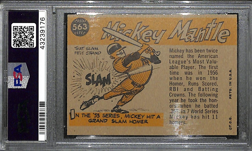 1960 Topps Mickey Mantle All Star Card #563 - PSA 8