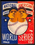 1945 Original World Series Program - Detroit Tigers vs Chicago Cubs Signed by (5) - Hack, Derringer, Wyse, D. Johnson,  and Pafko
