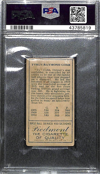 1911 T205 Gold Border Ty Cobb Tobacco Card PSA 1