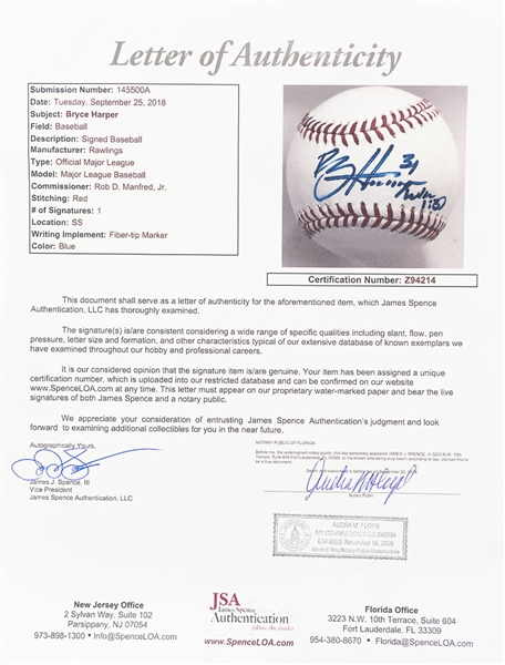 Bryce Harper Signed Official MLB Baseball - JSA LOA