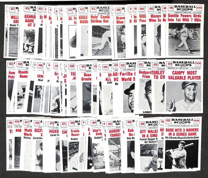 High-Grade 1961 Nu-Card Scoops Complete Baseball Card Set - w. Ruth, Mantle, Mays All 80 Cards)