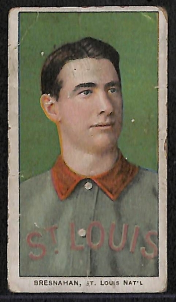 Lot of (3) 1909-11 T206 Cards w/ Bresnahan (HOF) Portrait Sweet Caporal Fac. 649 Overprint, Abstein, and Burchell