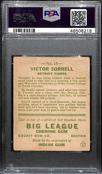 1933 Goudey Vic Sorrell #15 PSA 4 (Autograph Grade 8).  Pop 1 - Highest Grade Example - Only 3 PSA/DNA Exist! (d. 1972)