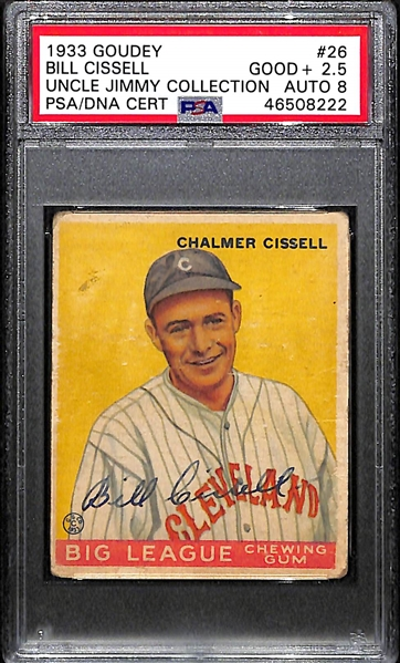1933 Goudey Chalmer Bill Cissell #26 PSA 2.5 (Autograph Grade 8) - Highest Grade - Pop 1 (Only 2 PSA/DNA Exist - The Other is Authentic) - d. 1949