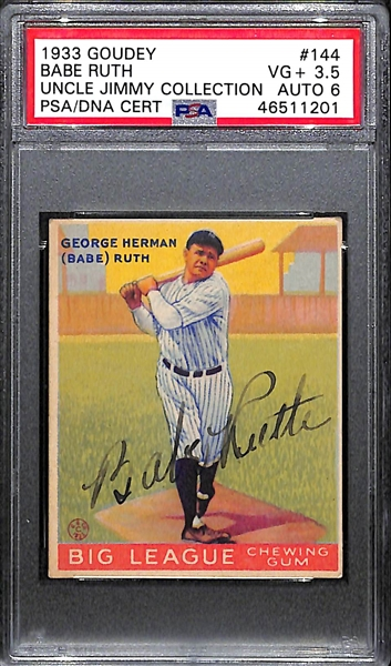 1933 Goudey Babe Ruth #144 PSA 3.5 (Autograph Grade 6) - Only 2 Graded Higher of 6 PSA Examples, d. 1948