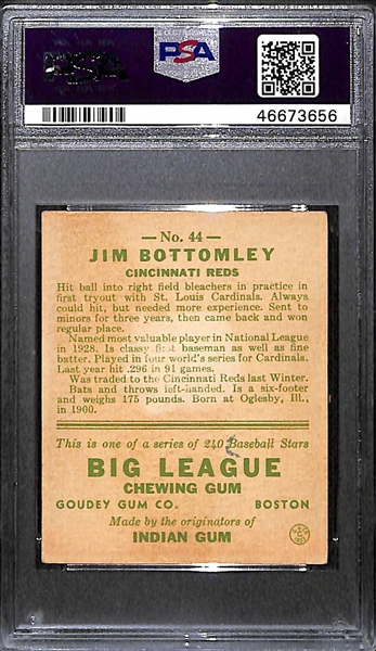 1933 Goudey Jim Bottomley #44 PSA 2.5 (Autograph Grade 9) - Only 7 PSA/DNA Exist w. Only 3 Graded Higher! (d. 1959)