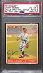 1933 Goudey Larry Benton #45 PSA 4 (Autograph Grade 6) - Pop 1 - Highest Grade of Only 4 PSA Examples - (d. 1953)
