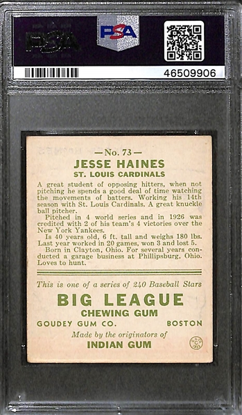 1933 Goudey Jesse Haines #73 PSA 2.5 Good+ (Autograph Grade 10) - One of Only 11 Graded Examples (d. 1978)