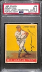 1933 Goudey Jimmie Foxx #29 PSA 5 (Autograph Grade 8) - Pop 1 - Highest Grade of Only 4 PSA Examples - (d. 1967)