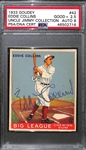 1933 Goudey Eddie Collins #42 PSA 2.5 (Autograph Grade 8) - Only 6 PSA/DNA Exist w. Only 1 Graded Higher! (d. 1951)