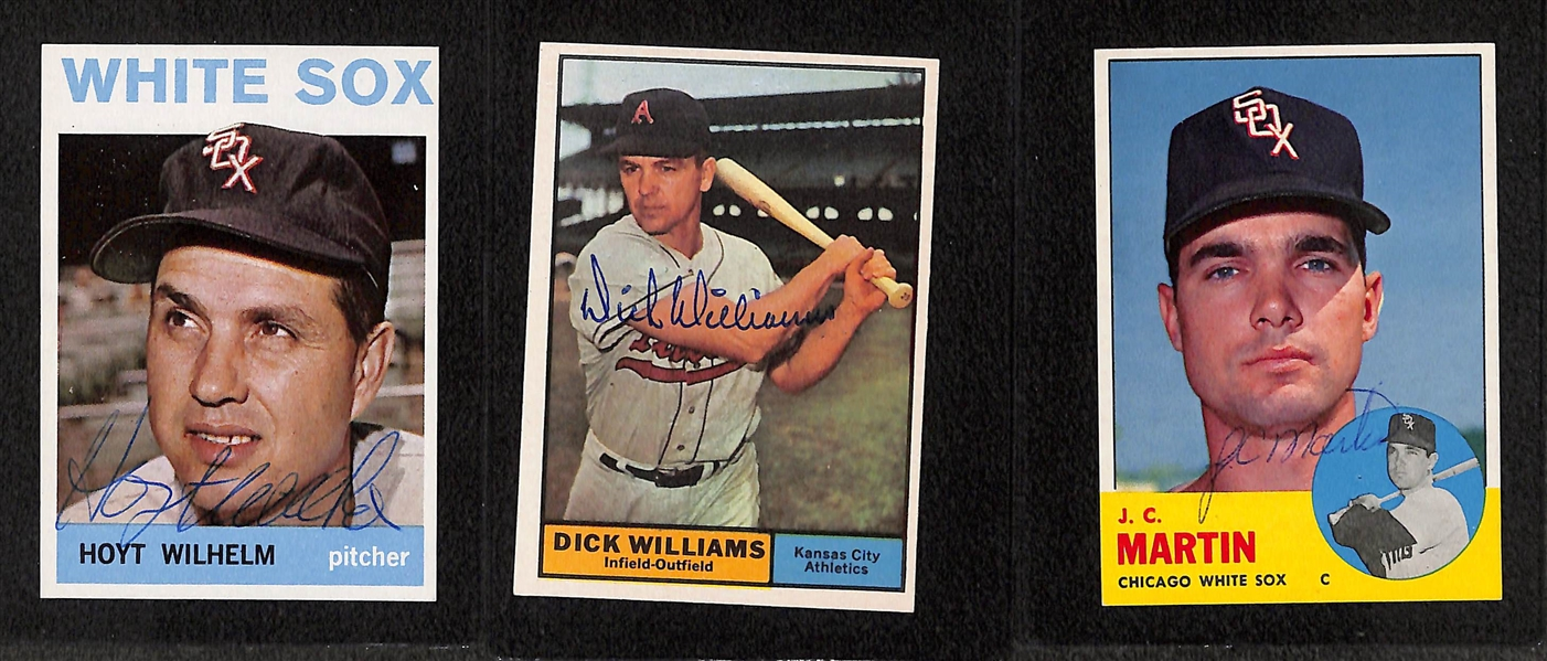 (5) Signed Topps Baseball Cards - 1964 H. Wilhelm, 1961 D. Williams, 1963 JC Martin, 1968 JC Martin, 1968 Kranepool