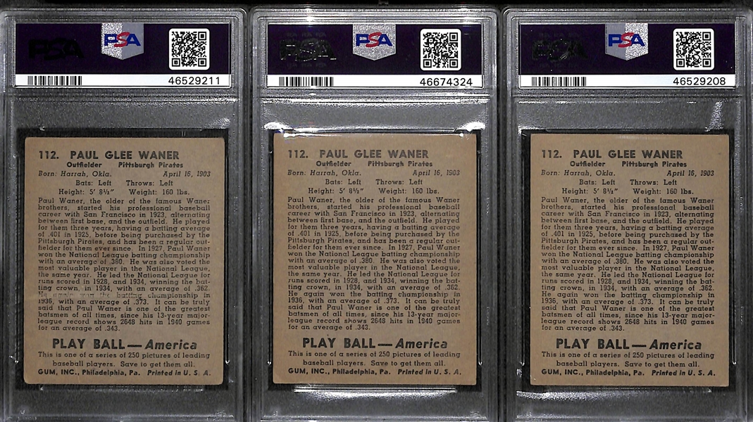Lot of (3) Paul Waner Graded 1939 Play Ball Cards (PSA 2.5, PSA 3, and PSA 3.5)