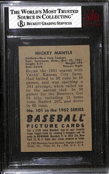 1952 Bowman Mickey Mantle #101 Graded BVG 2
