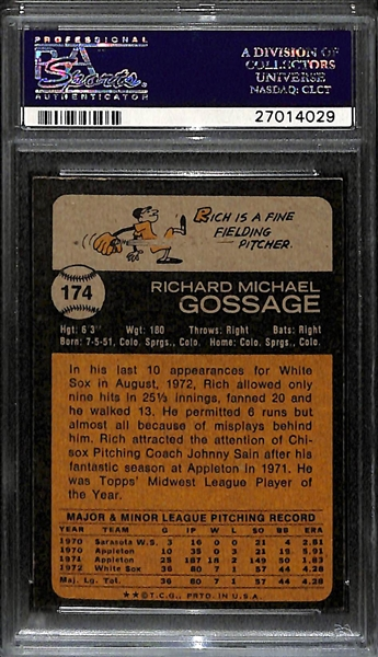 1973 Topps Goose Gossage (HOF) Rookie Card #174 - Graded PSA 9