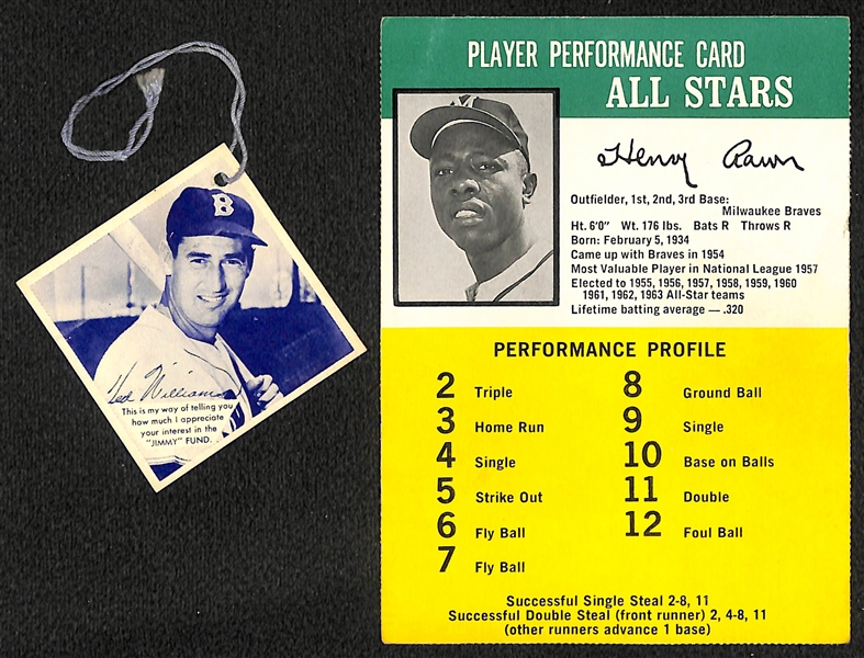 1957 Ted Williams Jimmy Fund Glove Tag Card and Rare 1964 Hasbron Hank Aaron Challenge the Yankees Card