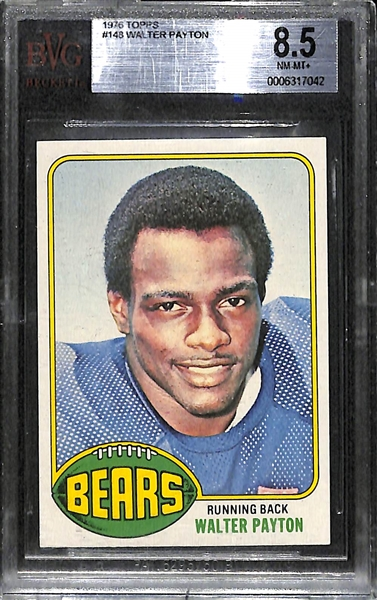 Rare High-Grade 1976 Topps Walter Payton #148 Rookie Card Graded Beckett BVG 8.5 NM-MT+