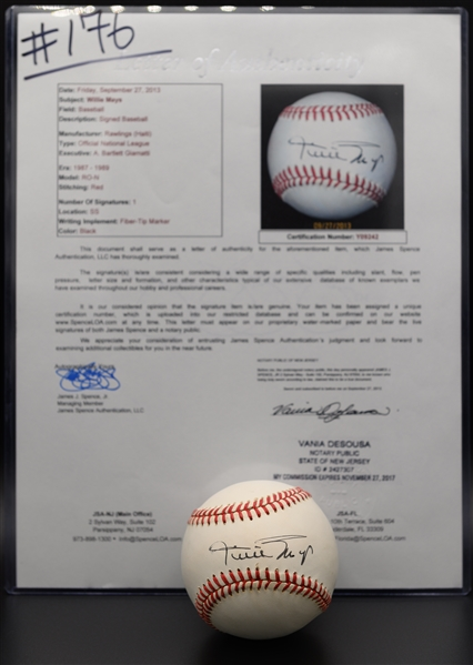 Willie Mays Signed Official NL Baseball (Full JSA Letter of Authenticity)