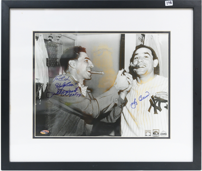 Framed/Matted Photo Signed by Yogi Berra and Phil Rizzuto (Damage to Photo) 11x14 Photo in 20x17 Frame - Steiner