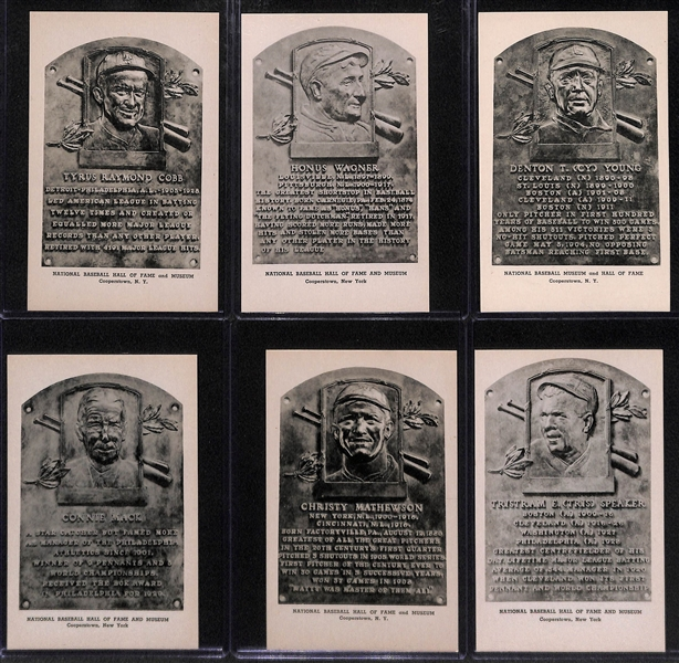 Lot of (6) High-Quality 1946-52 Albertype HOF Plaque Postcards - Cobb, Wagner, Young, Mathewson, Speaker, & Mack