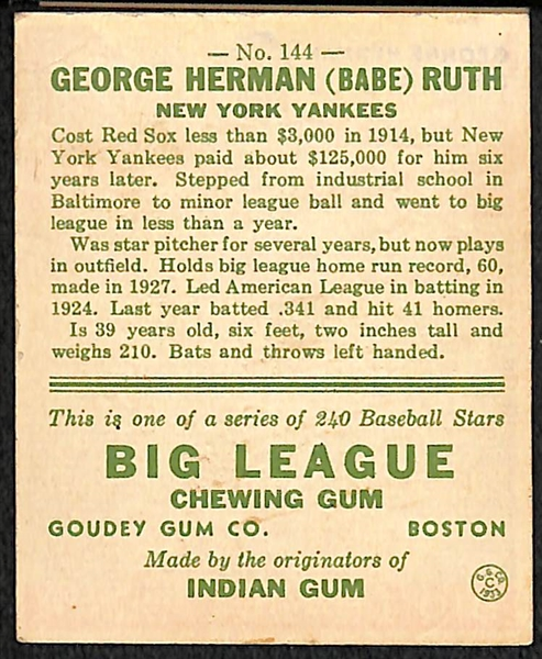 1933 Goudey Babe Ruth #144 w. Secretarial/Non-Authentic Signature