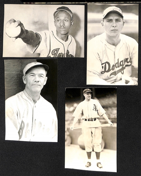 (30) Baseball Real Photo Postcards c. 1950s-60s Off Original Negatives (From Brace/Burke) w. Satchel Paige and Gil Hodges