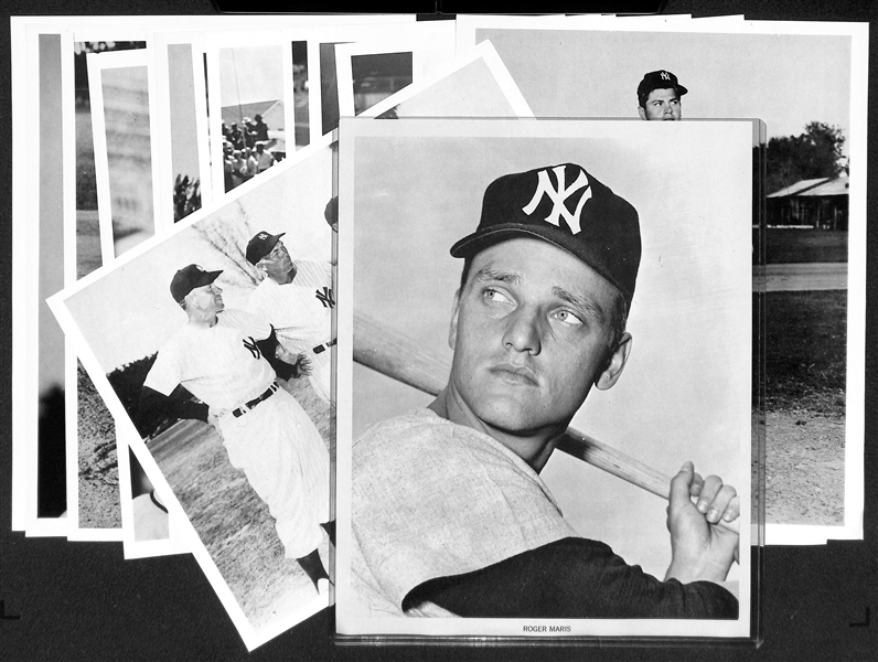 Lot of (15) NY Yankees Early 1960s Manny's Baseball Land Player Souvenir 8x10 Photos w. Maris & Stengel/Dickey