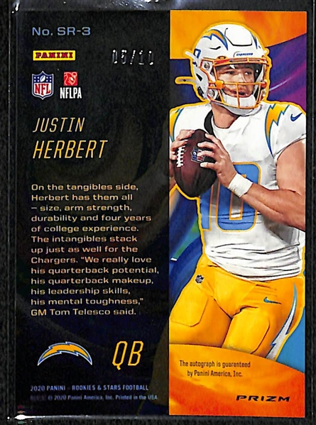 2020 Panini Rookies & Stars Justin Herbert (Chargers) Stellar Rookies Autographed Silver Prizm Card (#5/10)