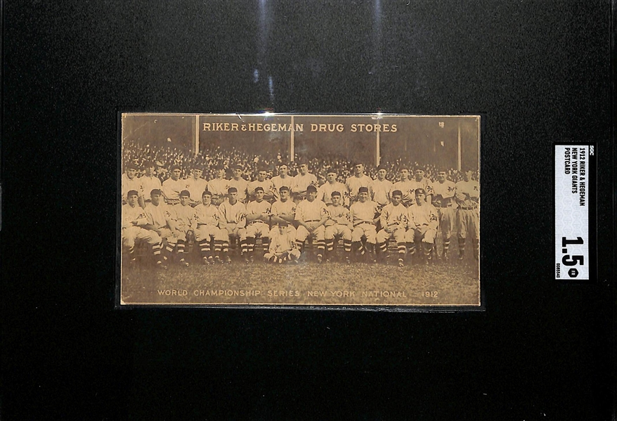 Rarely Seen 1912 Riker & Hegeman New York Giants Postcard (NL Champions) w. Christy Mathewson, Rube Marquard, John McGraw SGC 1.5