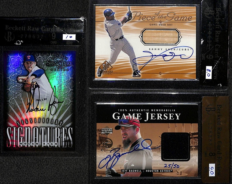 Lot of (3) BGS Graded Hall Of Fame Autographs - Nolan Ryan BGS 9, Sammy Sosa BGS 9 & Jeff Bagwell BGS 8
