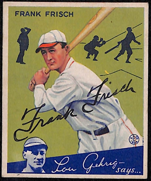 Rare Signed 1934 Goudey Frank Frisch (HOF) #13- Includes JSA Letter of Authenticity