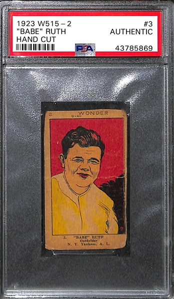 1923 W515-2 Babe Ruth #3 Hand Cut Card Graded PSA Authentic