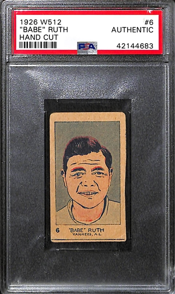 1926 W512 Babe Ruth #6 Hand Cut Card Graded PSA Authentic