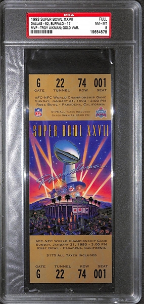 1993 Super Bowl XXVII Ticket Dallas vs. Buffalo Gold Variation PSA 8