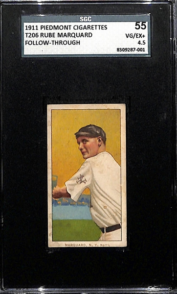 1911 T206 Rube Marquard Follow Through (HOF) Tobacco Card Graded SGC 4.5 (Piedmont 350-460, Factory No. 25)
