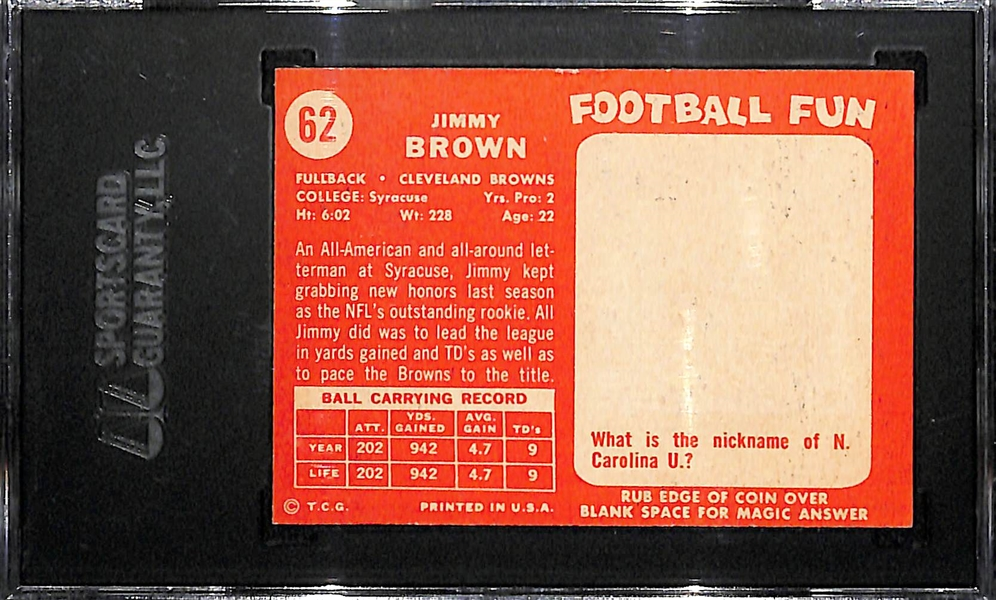 Pack Fresh 1958 Topps Jim Brown #62 Rookie Card SGC 6 w. Amazing Eye Appeal (Near Perfect Color and Edges/Corners)