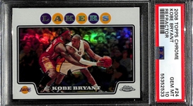 HOT CARD! 2008 Topps Chrome Refractor Kobe Bryant #24 w/ Lebron James Graded PSA 10 Gem Mint!