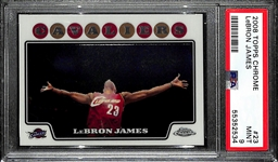 "2008 Topps Chrome Lebron James ""Chalk Toss"" #23 Graded PSA 9 Mint"
