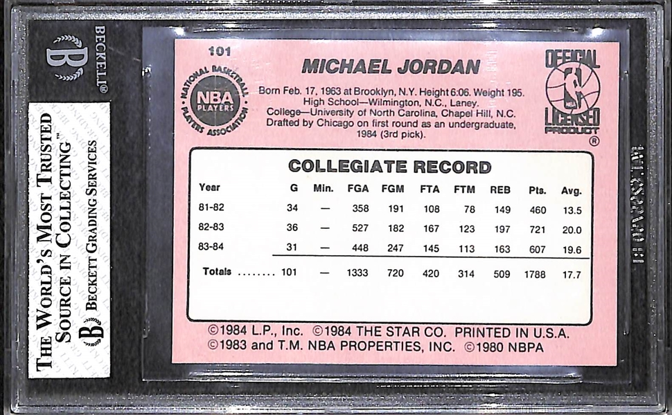 1984 Star Michael Jordan Real Rookie Card #101 Graded BGS 7.5 with Two 9.0 Sub Grades!!