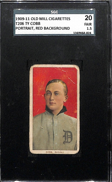 Rare 1909-11 T206 Ty Cobb (HOF) Portrait, Red Background Tobacco Card Graded SGC 1.5 (Old Mill Back)
